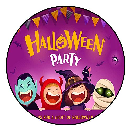 Hua Wu Chou Round Exercise matround BBQ Grill mat D2'3/0.7m Halloween Party Group of Kids in Halloween Costume with Big -