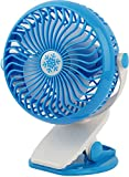 GPCT Clip-On Desk Personal Quiet Table Fan. Energy Efficient/Micro USB Powered Cooling Office Desktop Fan- Traveling/Camping/Fishing/Hiking/Backpacking/BBQ/Baby Stroller/Picnic/Biking/Boating- Blue
