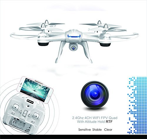 Coolmade DM009 Quadcopter Nighthawk FPV RC Drone with Camera 2.4Ghz 4CH 6 Axis Gyro Explorer RTF with HD WiFi Video Quad (2X 600Mah 7.4V Li-po Battery Included - White
