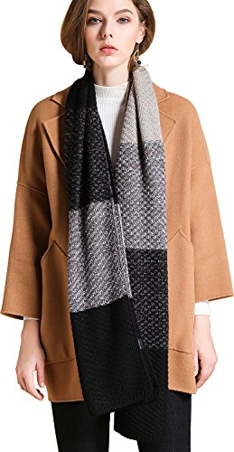 Cable Long Scarf Knit (LETRY Winter Scarfs for Women Men Thick Warmth Cable Knit Chunky Long Shawl (Black/Grey))