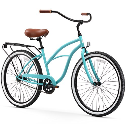 (sixthreezero Around The Block Women's Single Speed Cruiser Bicycle, Teal Blue w/ Brown Seat/Grips, 26