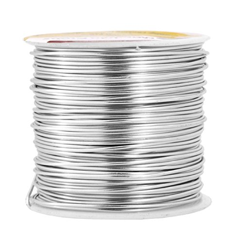 Mandala Crafts Anodized Aluminum Wire for Sculpting, Armature, Jewelry Making, Gem Metal Wrap, Garden, Colored and Soft, 1 Roll(18 Gauge, Silver)