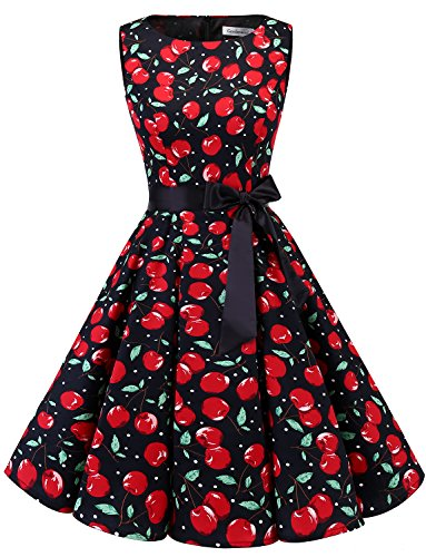 Retro Cherries - Gardenwed Women's Vintage 1950s Spring Garden Party Picnic Dress Sleeveless Retro Cocktail Dress Black Cherry 3XL