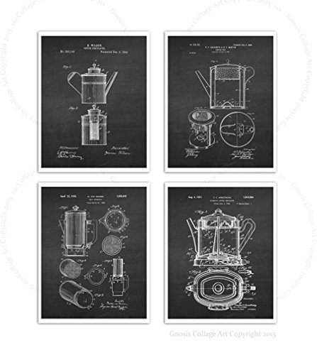 Coffee Decor Patent Posters Set of 4 Unframed Kitchen Decor