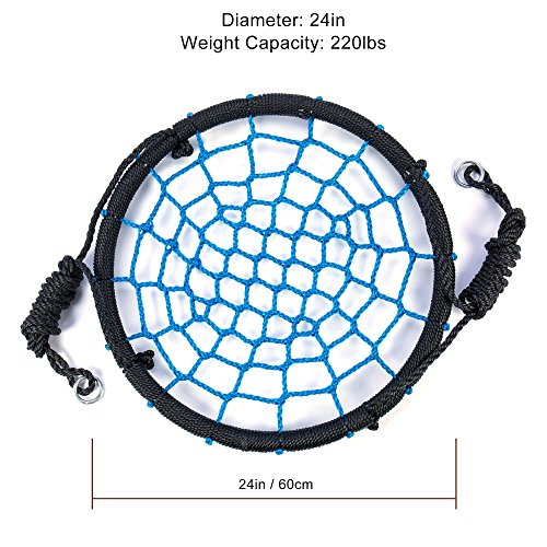 Tree Swing Spider Web - 24 Inch Diameter,220 lb Weight Capacity, Great for Playground, Tree, Outdoor Use Easy to Install and Non-Stop Fun for Kids ()