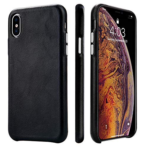 TOOVREN iPhone Xs Case, iPhone X/10 Case Genuine Leather Cover Case Protective Ultra Thin Anti-Slip Vintage Shell Hard Back Cover for Apple iPhone X/Xs 5.8'' (2018) Black (Black Leather Case)