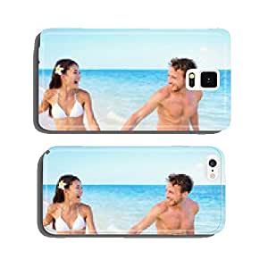Beach couple having fun happy on beach vacation cell phone cover case Samsung S5