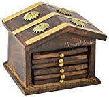 Wooden Coaster (Set 6) | Wooden Coasters House Shaped| With Holder - Protect Your Furniture from Stains and Moisture - Great Gift Idea - Great Decor Idea | by iTrend India