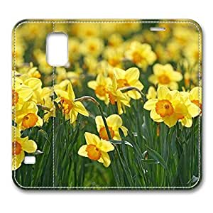 Brain114 Fashion Style Case Design Flip Folio PU Leather Cover Standup Cover Case with Daffodils Flowers Pattern Skin for Samsung Galaxy S5 I9600