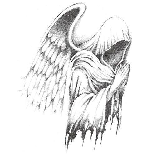Set of 2 Waterproof Temporary Tattoo Sleeve Stickers Horror Scary Grim Reaper Classic Design Body Art Makeup Tools