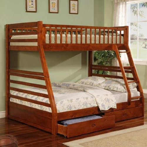 Twin Full Size Bunk Bed with Storage Drawers in Cherry Finish PNo: (Twin Over Full Cherry Bed)