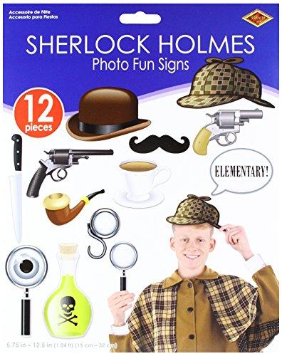 "Beistle 52186 24 Piece Sherlock Holmes Photo Fun Signs, 5.75""-12.5"", Multicolor"