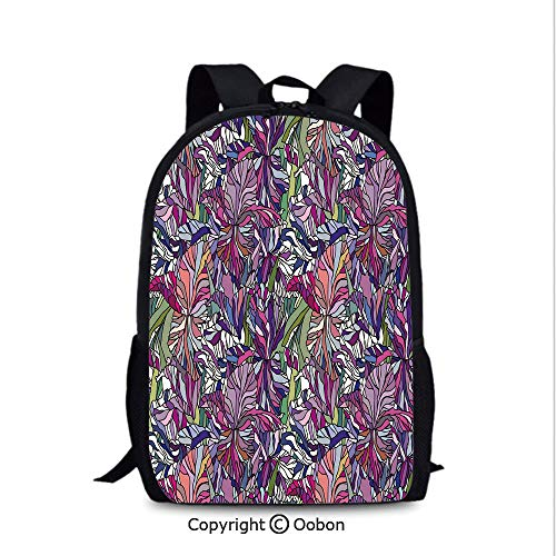 (Laptop Computer Backpack, Tropical Jungle Rainforest Artistic Abstraction Narcissus Iris Vintage Style, School Bag :Suitable for Men and Women, School, Travel, Daily use, etc.Multicolor)
