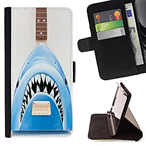 Dragon Case- Caja de la carpeta del caso en folio de cuero del tir¨®n de la cubierta protectora Shell FOR Samsung Galaxy S5 Mini SG870a, SM-G800- Shark Sea