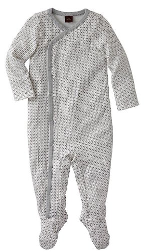 Tea Collection Unisex-Baby Infant Lotus Wrap One-Piece, Gravel, 3-6 Months