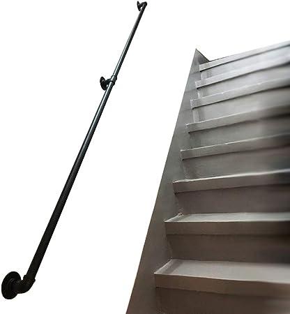 LHNLY-Handrail Barandilla para Escalera para Uso Interior y Exterior | Soportes de Montaje en Pared Escalera barandilla Kit para Piscina jardín Seguridad rieles – Negro Metal Hierro: Amazon.es: Hogar
