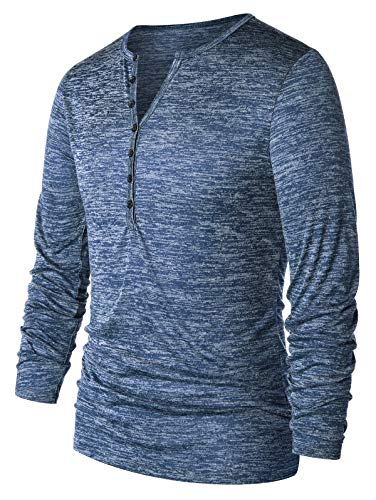EXCOO Long Sleeve Half Button Henley T-Shirt