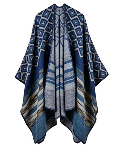 Mantella Hot Scuro Outerwear A Maglia Tempo Taglie Donna Stampato Blu Relaxed Forti Libero Invernali Giacca Eleganti Poncho qv1rxTFqw