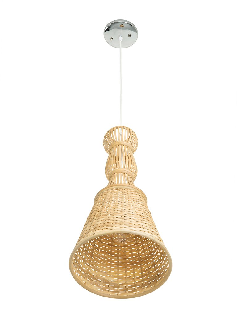 Kouboo Bellona Bamboo Baluster Bell Pendant Lamp Black