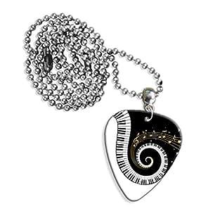 Teclas de Piano y notas musicales Logo collar de púa de guitarra (GD)
