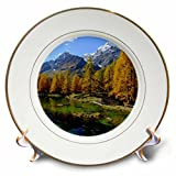 3dRose Cities Of The World - Valle Daosta Mirror Lago Bleu Lake Aosta Valley In Italy - 8 inch Porcelain Plate (cp_268655_1)
