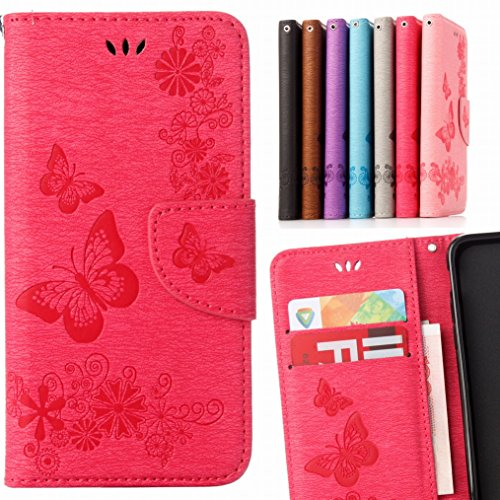 LEMORRY Samsung Galaxy J3 (2016) Case Leather Flip Wallet Pouch Slim Fit Bumper Protection Magnetic Strap Stand Card Slot Soft TPU Cover for Galaxy J3 2016 J320F, Lucky Butterfly Blue Pink