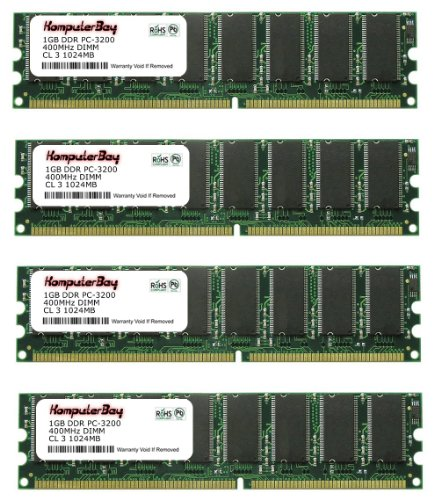 184 3200 Pc Pin Ddr400 - Komputerbay 4GB ( 4 x 1GB ) DDR DIMM (184 pin) 400Mhz PC 3200 Low Density CL3.0 4 GB KIT