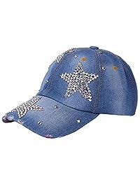 SWPS Women Men Baseball Mesh Cap Hat Adjustable Pentagram Rhinestone Denim