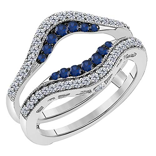 Women's 14k White Gold Plated Alloy Double Row Pave Set 0.50(ctw) CZ Blue Sapphire & Cubic Zirconia Round Wedding Band Solitaire Enhancer Guard Wrap - Halo Cz Ring Rose Gold