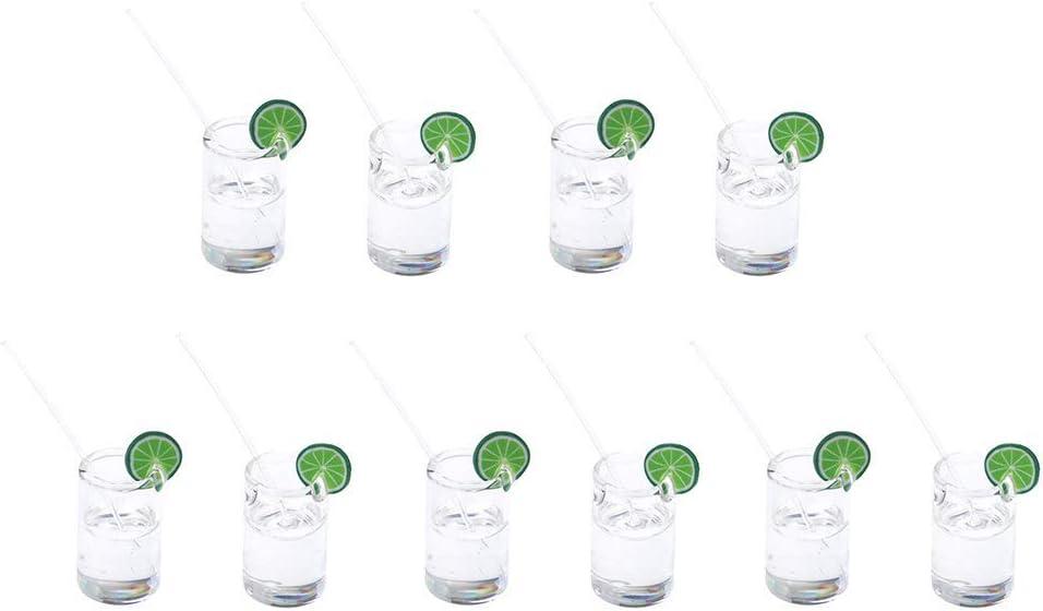 Joysiya 10pcs 1:12 Scale Dollhouse Miniatures Lemon Water Cups Food Drinks Supplies - Green