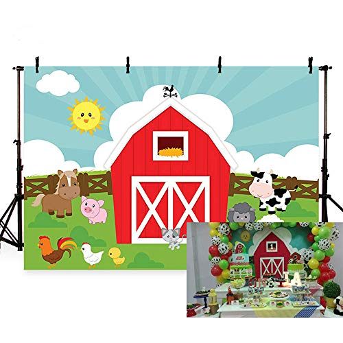 Barn Scene Setter - MEHOFOTO Photo Background Cartoon Farm Animals