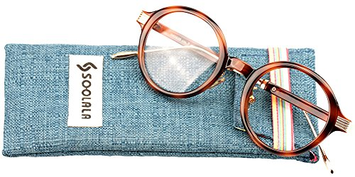SOOLALA Womens Unique TR90 Round Circle Clear Lens Eyeglass Reading Glasses, Tortoise, - Sunglasses Presription