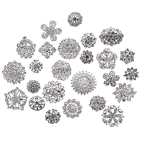 L'VOW Silver/Gold Color Sparking Wedding Bridal Crystal Brooch Bouquet Kit Pack of 10(Silver)