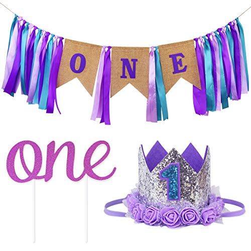 Ecore Fun First Birthday Decorations Party Supplies for Baby Girls | 1 Pc High Chair Happy Birthday ONE Burlap Banner + 1 Pc NO.1 Crown + 1 Pc ONE Cake Topper | Affordable Unique Design - Mermaid Theme -