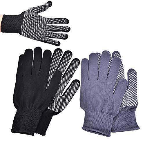 Kul-Kul - 2Pcs/1 Pair Hair Straightener Curling Tong Hairdressing Heat Resistant Finger Gloves Skid Resistance Burn-proof Black Grey
