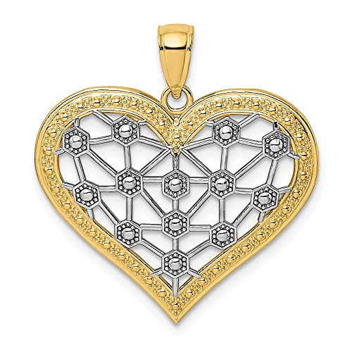 14k Gold Rhodium Lattice Center HEART Charm