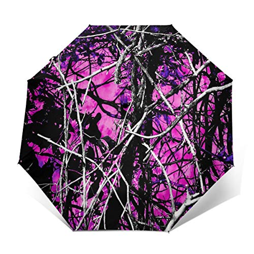 Automatic Folding Umbrella with 8 Rib Construction, Sun Protection Waterproof Unique Umbrella for Picnic Beach Kids Gifts, Muddy Girl Country Camo Tree Branch (Muddy Girl Camo Wrist Strap)