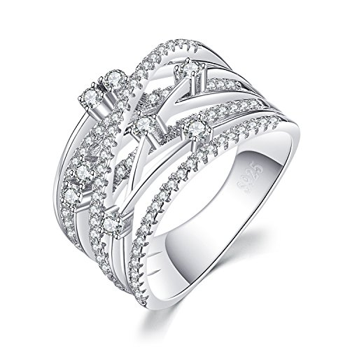 JewelryPalace Luxurious Round Cubic Zirconia Wide Band Cocktail Ring 925 Sterling Silver Size 9