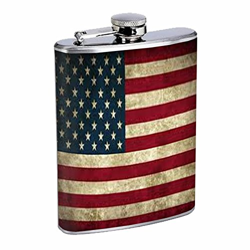 Vintage American Flag Flask D1 8oz Stainless Steel Patriotic Freedom American Heroes Veterans