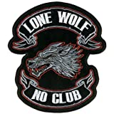 Hot Leathers Lone Wolf Embroidered Patch (13'' Width x 15'' Height)