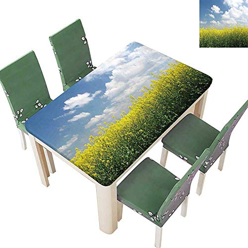 Printsonne Polyester Tablecloth Blooming Rapeseed Field and Clear Sky Clouds Saxony Germany Rustic Eco Yellow Green Easy Care Spillproof 52 x 108 Inch (Elastic Edge)