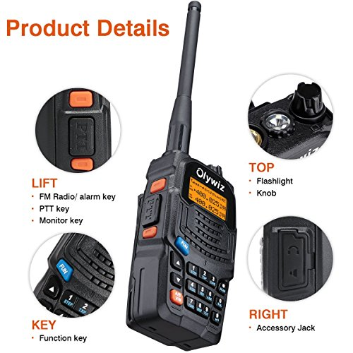 Walkie Talkies 2 Way Radios-Olywiz UV6S 5W 2000mAh Battery Range 15 Miles Walky Talky 2PCS-Backlight Display Dual Band 128CH Ham Radio with VOX Flashlight IP54 Function
