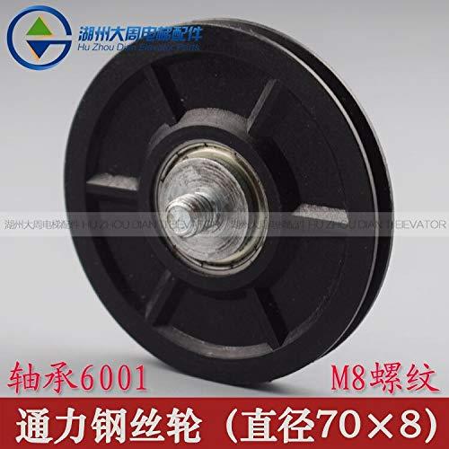 FINCOS 10pcs KONE Wire Rope Wheel/Universal Rope Wheel/KONE Wire Guide Wheel/Outer Diameter 70 Thick 8 Bearing 6001M8 Thread