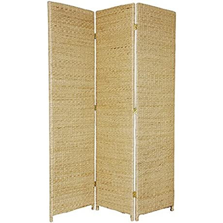 Oriental Furniture Rustic Rattan Look Privacy Screen 6 Feet Tall Rush Grass Woven Room Divider 3 Panel Natural