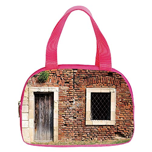 - iPrint Increase Capacity Small Handbag Pink,Flamingo,Geometrical Pineapples and Flamingos Tropical Summer Fruit Pool Party,Orange Green Light Pink,for Girls,3D Print Design.6.3