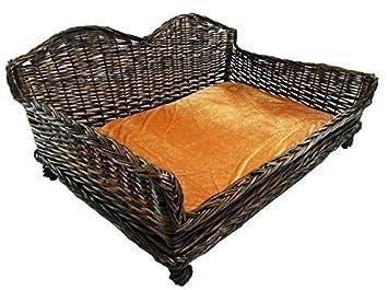 Gigante enorme Big mimbre cesta de mimbre Cama de Perros sofá sofá cama cojín acolchado [grande 97 x 69 x 46 cm]: Amazon.es: Productos para mascotas
