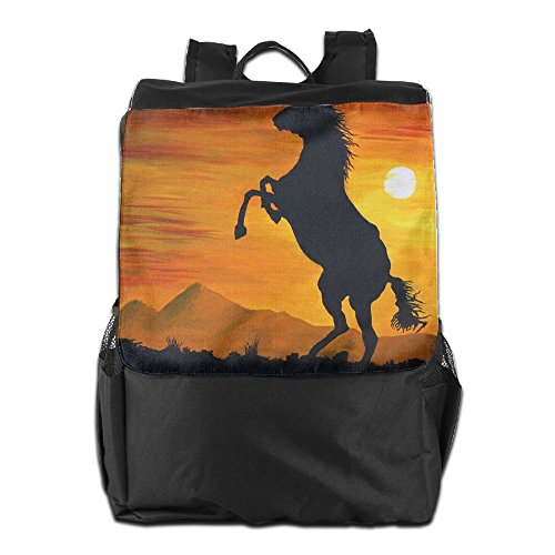 HSVCUY Personalized Outdoors Backpack,Travel/Camping/School-Oil Painting Raising Horse Adjustable Shoulder Strap Storage Dayback For Women And Men