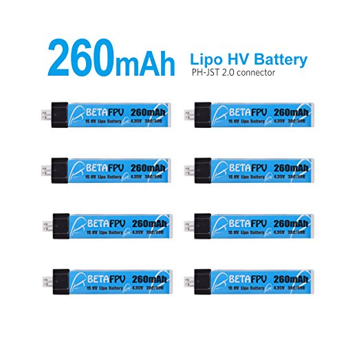 Battery Cpx Series - BETAFPV 8pcs 260mAh HV 1S Lipo Battery 30C 4.35V with JST-PH 2.0 Powerwhoop Connector for Tiny Whoop Blade Inductrix