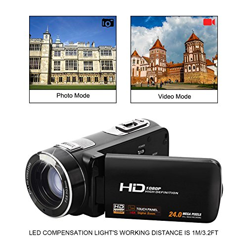 """Camcorder Video Camera Full HD 1080p @30fps Camcorders 3"""" Touch Screen Digital Camera Support Webcam with Remoter Controller by COMI (Image #1)"""