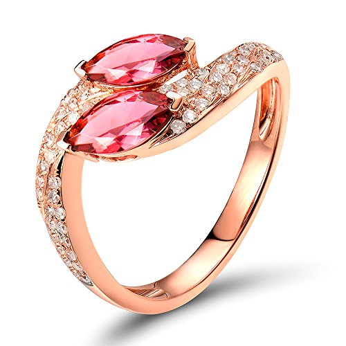 Lanmi 14k/18k Rose Gold Natural Pink Tourmaline Diamonds Ring Engagement Promise for Women